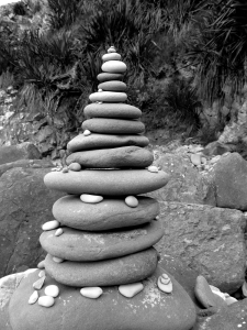 beach rock cairn