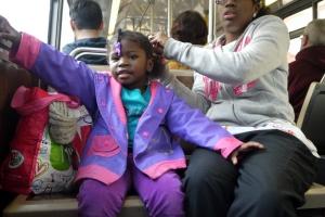bus hairstyling girl, San Francisco